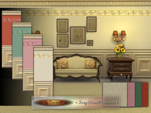 The Sims Resource: Ivory Wood Wainscot by Emerald