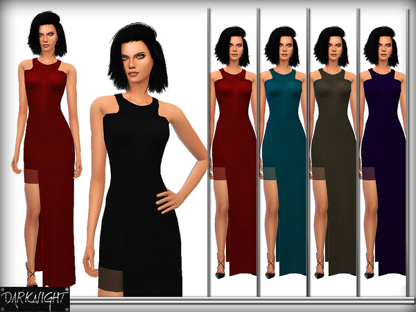The Sims Resource: Stretch Crepe Maxi Dress by DarkNighTt