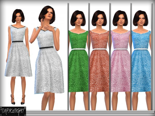 The Sims Resource: Embroidered Belted Dress by DarkNighTt
