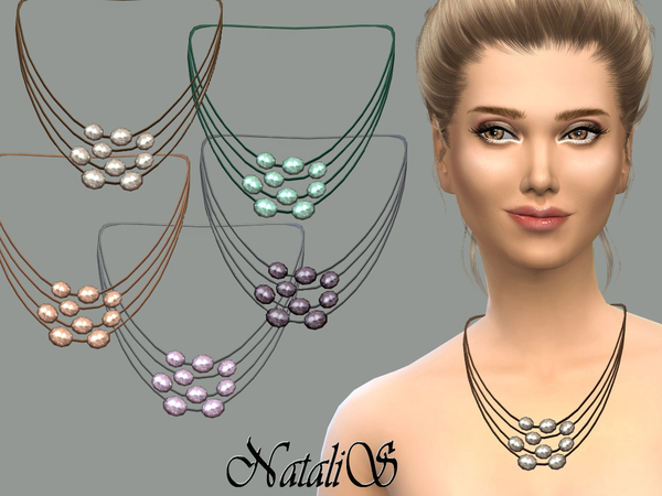 The Sims Resource: Multilayer freshwater pearl necklace by NataliS