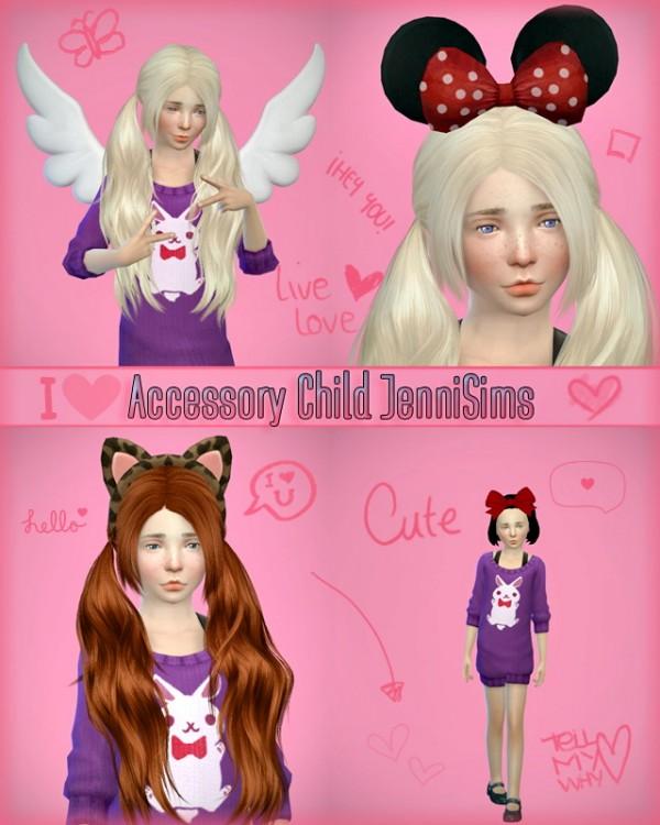 Jenni Sims: Accessory sets child (Bow, Minnie, kitty, Wings)