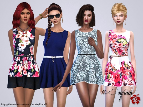 The Sims Resource: Multicolored floral dress by EsyraM