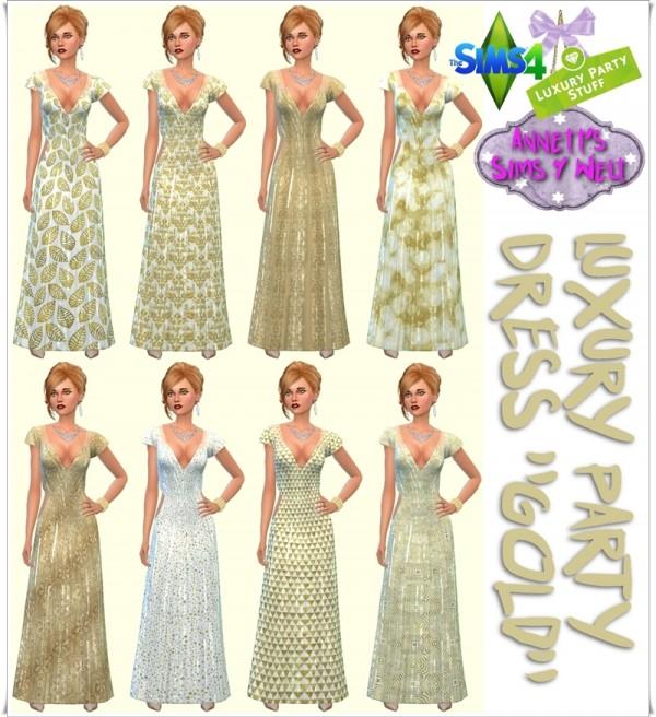 Annett Sims 4 Welt: Luxury Party Dress Gold