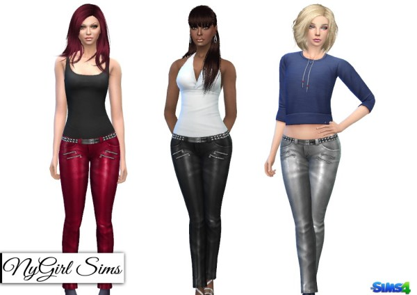 NY Girl Sims: High Shine Zippered Leather Pant