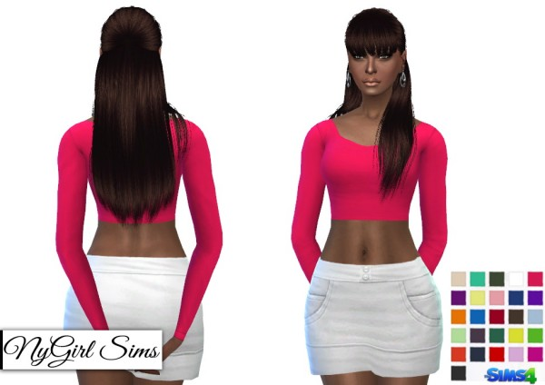 NY Girl Sims: Fitted Scoop Neck Long Sleeve Crop Top