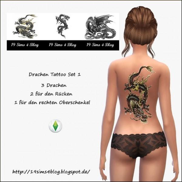 19 Sims 4 Blog: Dragon tattoo set 1
