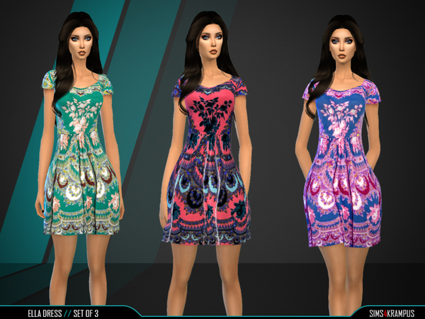 The Sims Resource: Ella Dress Set of 3 by SIms4Krampus
