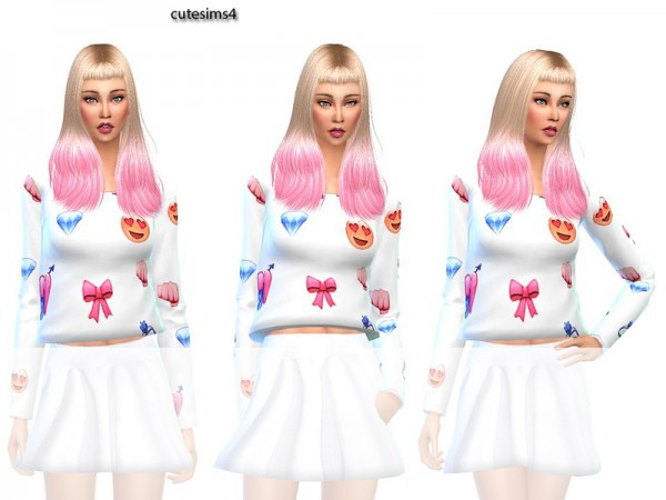The Sims Resource: Summer outfit emoji white by Sweetsims4