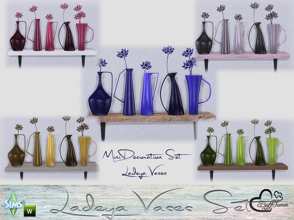 The Sims Resource: Ladeya Vases Miniset by BuffSumm