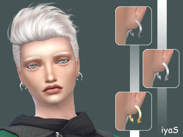 The Sims Resource: Spiked Hoop Male earrings by Soloriya