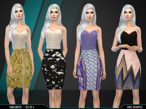The Sims Resource: Fana Dress Set of 4 by SIms4 Krampus