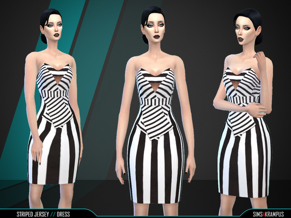 The Sims Resource: Striped Jersey Dress by SIms4Krampus
