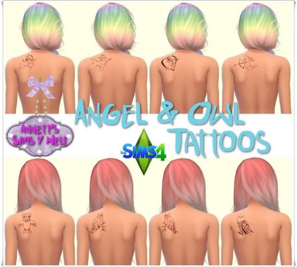 Annett`s Sims 4 Welt: Angel & Owl Tattoos