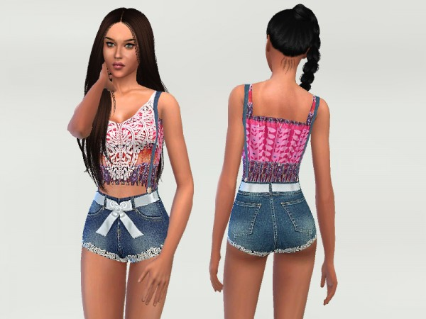 The Sims Resource: Lace and Denim Bodysuit by Puresim