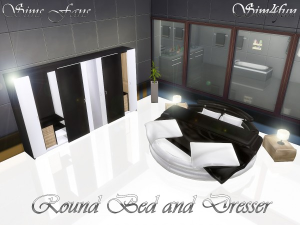 Sims Fans: Round Bed and Modern Dresser by sim4fun