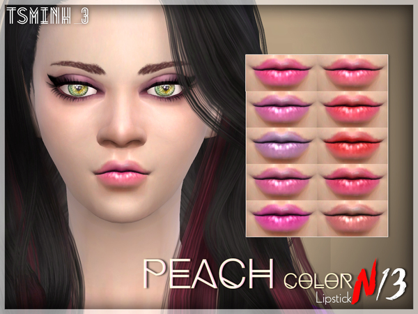 The Sims Resource: Peach Color Lipstick by tsminh 3