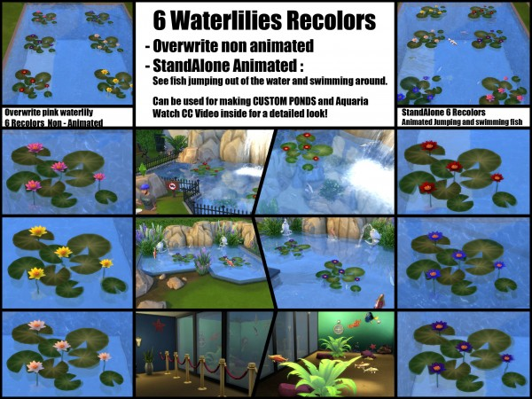 Mod The Sims: Waterlily Recolor + Animated Fish by Bakie