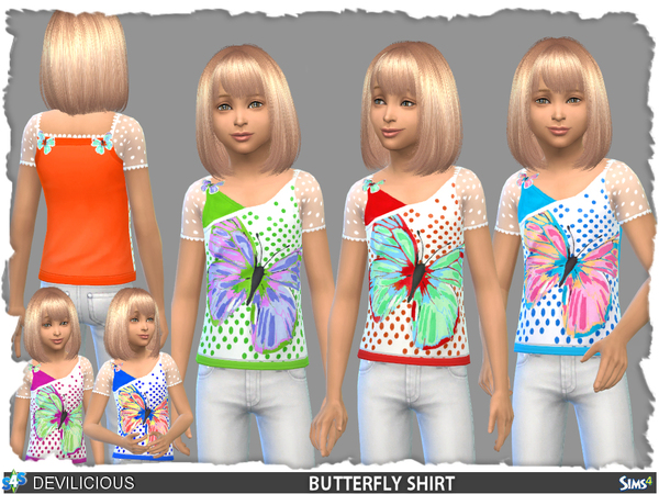 The Sims Resource: Butterfly Shirt by Devilicious