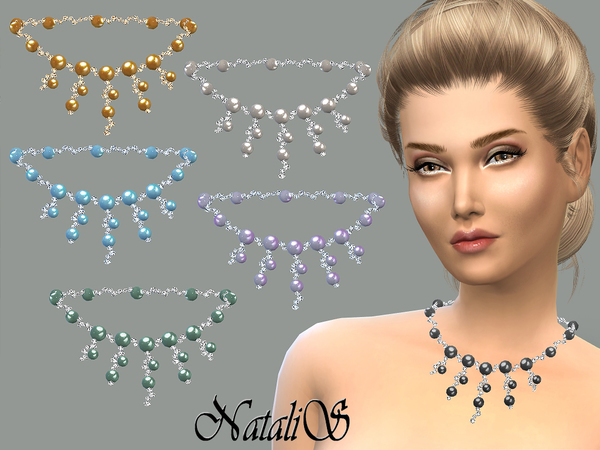 The Sims Resource: Cascade of crystal and pearl necklace by NataliS