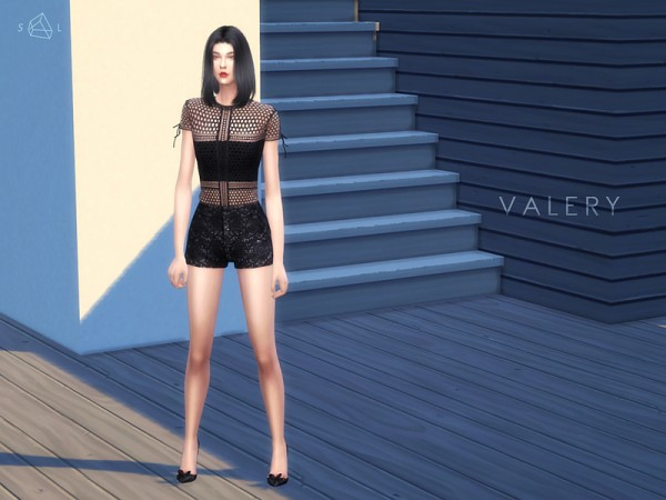 The Sims Resource: Panelled Lace Tee VALERY by Starlord