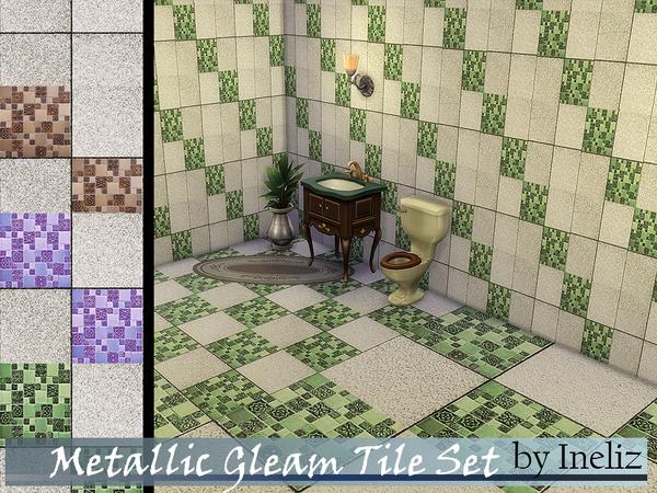 The Sims Resource: Metallic Gleam Tile Set by Ineliz