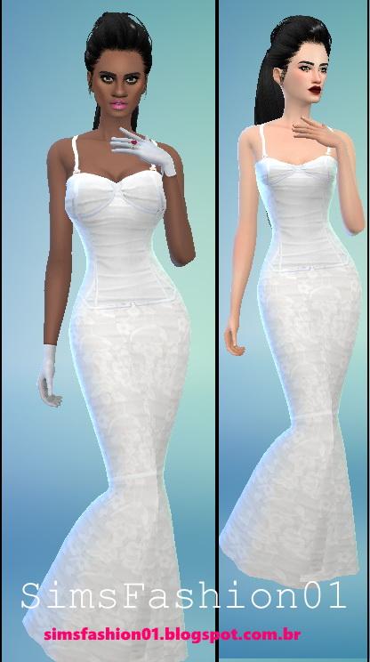 Sims Fashion 01: Wedding Dress With Corset