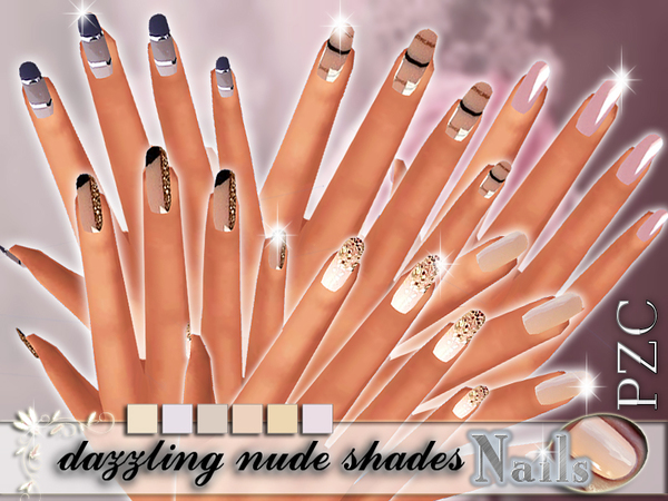 The Sims Resource: Gorgeousness dazzling nude shades nails by Pinkzombiecupcake