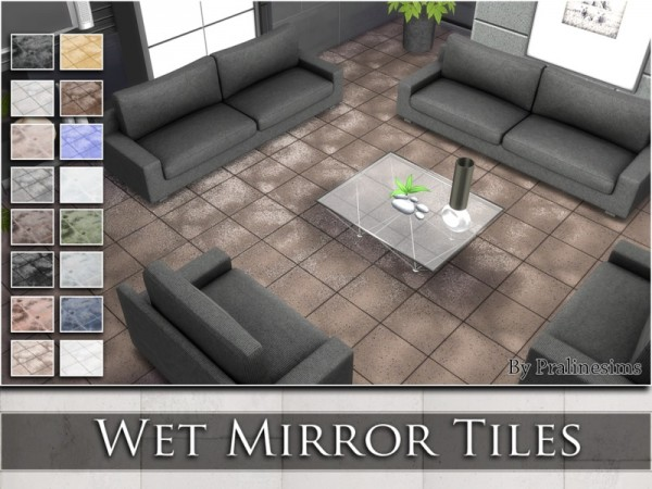 The Sims Resource: Wet Mirror Tiles by Pralinesims