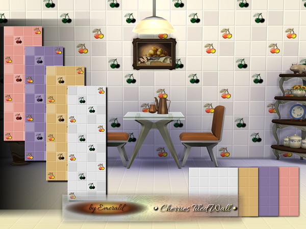 The Sims Resource: Cherries Tiled Wall by emerald