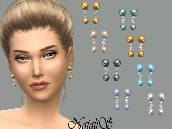 The Sims Resource: Double drop pearl and crystals earrings by NataliS