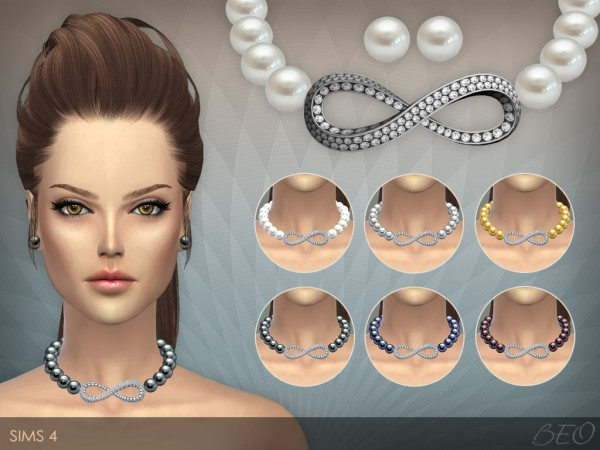 BEO Creations: Infinity pearls necklace & stud earrings