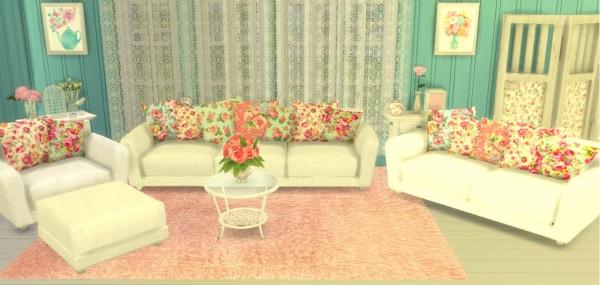 Sunshine Roses Custom Content Shabby Chic Living Room Set Sims 4 Downloads