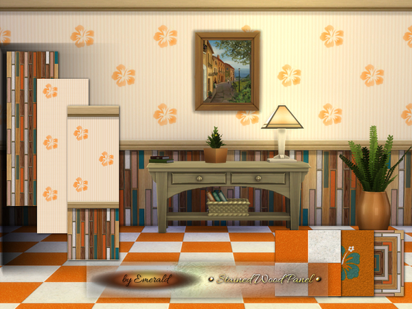The Sims Resource: Stained Wood Panel by Emerald