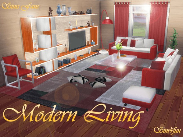 Sims fans modern livingroom by sim4fun sims 4 downloads for Modern living room sims 4