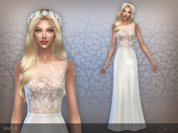 BEO Creations: Embroidered transparent top dress 02