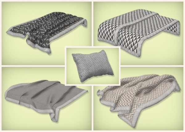 Simsrocuted Neutral Beddings Blankets And Pillows Sims