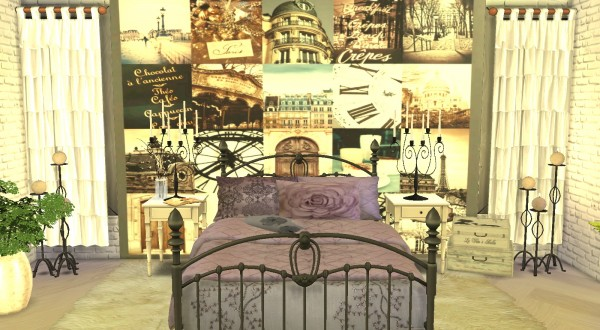 My little The Sims 3 World: Wall Mural&Bed Blankets+Pillows