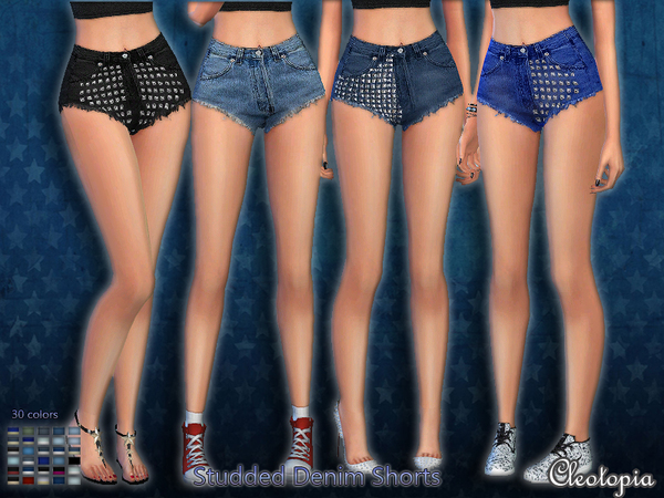 The Sims Resource: Set41  Mini Studded Denim Shorts by Cleotopia