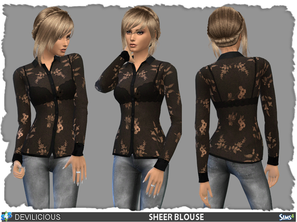 The Sims Resource: Black Sheer Blouse by Devilicious