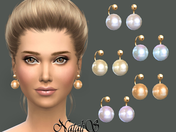The Sims Resource: Faux pearl earrings by NataliS