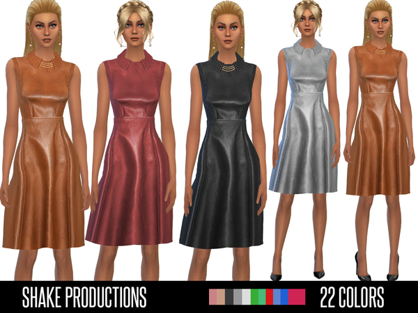 The Sims Resource: 34 Leather Dress by ShakeProductions