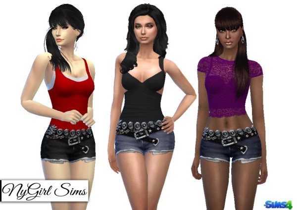 Ny Girl Sims Belt And Chain Denim Shorts Sims 4 Downloads