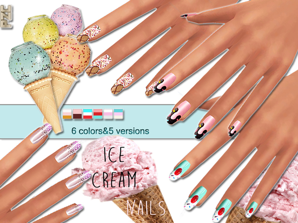 The Sims Resource: Ice Cream Nails Mini Collection by Pinkzombiecupcake