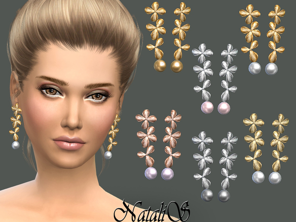 The Sims Resource: Orchid flowers earrings by NataliS