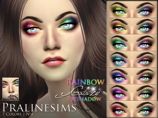 The Sims Resource: Rainbow Galaxy Eyeshadow by Pralinesims