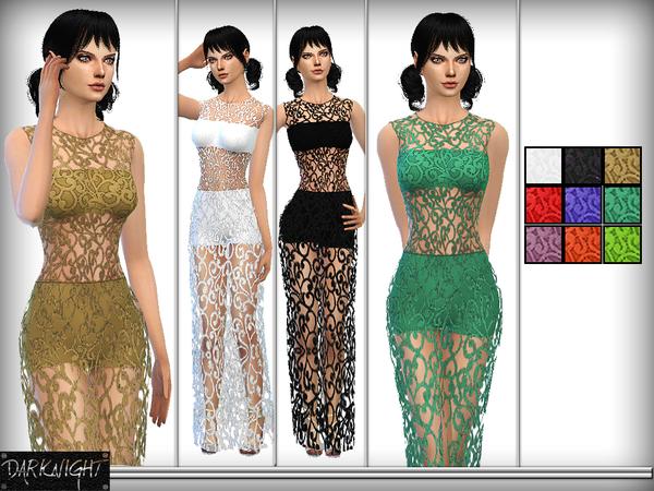 The Sims Resource: Maxi Crochet Knit Dress by DarkNighTt