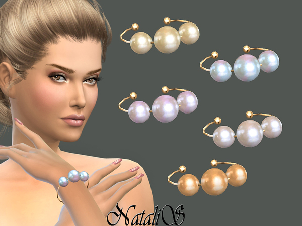 The Sims Resource: Faux pearls bracelet by NataliS