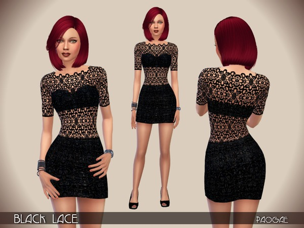 The Sims Resource: Black Lace dress by Paogae