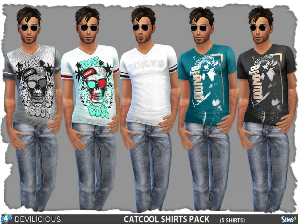 The Sims Resource: Cat Cool Shirts 5 Pack by Devilicious