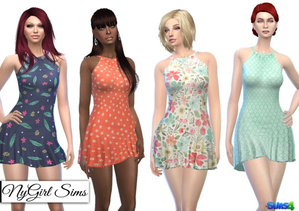 NY Girl Sims: Halter Skater Dress